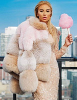 Musi Furs Ombre Pink/Blush/Honey Fox Fur Puffer Jacket