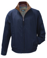 Remy Leather Men's Leather & Fabric Water-Resistant Blue Jacket