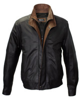 Remy Leather Men's Double Collar Peat/Dakota Lambskin Leather Bomber Jacket