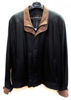 Remy Leather Men's Double Collar Peat/Dakota Lambskin Leather Bomber Jacket
