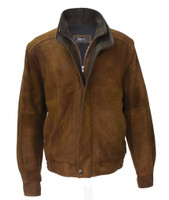 Remy Leather Men's Double Collar Safari/Cocoa Lambskin Leather Bomber Jacket