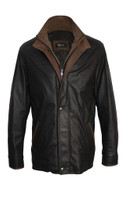 Remy Leather Men's Double Collar Black/Camel Leather Jacket
