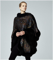 Augustina's Cashmere Paisley-Print Wrap Cape with Fox Fur Trim-Teal