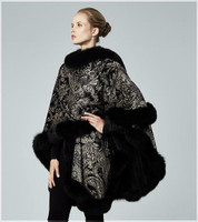 Augustina's Cashmere Paisley-Print Wrap Cape with Fox Fur Trim-Grey