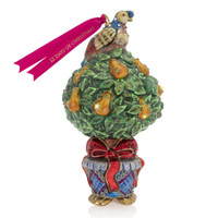 Jay Strongwater Partridge in Pear Tree Glass Ornament