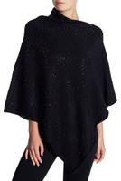 La Fiorentina Sparkle Embellished Asymmetrical Black Poncho
