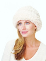 Paula Lishman Hand Knit Rose Beige Sheared Beaver Tube Hat