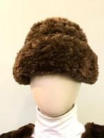 Paula Lishman Hand Knit Sheared Beaver Cognac Tube Hat