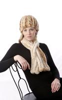 Paula Lishman Hand Knit Sheared Beaver Tube Hat and Scarf