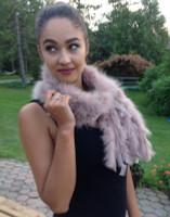 Paula Lishman Hand Knit Sheared Beaver Fawn/Tan Scarf