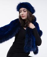 Paula Lishman Hand Knit Sheared Beaver Headband & Scarf with Fox Fur Trim
