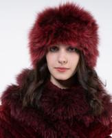 Paula Lishman Hand Knit Red Wine Fox Fur Hat & Neck Warmer