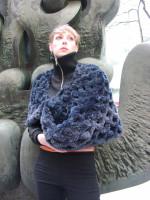 Paula Lishman Hand Knit Royal Blue Sheared Beaver Ring Shawl