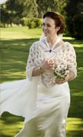 Paula Lishman Hand Knit Rose Beige Sheared Beaver Ring Shawl