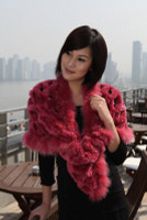 Paula Lishman Hand Knit Red Sheared Beaver Ring Shawl With Fox Fur