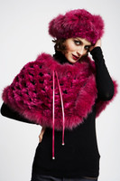 Paula Lishman Hand Knit Burgundy Sheared Beaver Ring Shawl With Fox Fur