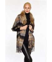 Augustina's Women's Fur Trim Plaid Wool/Cashmere Wrap, Camel