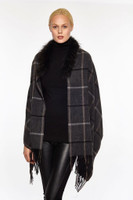 Augustina's Women's Fur Trim Plaid Wool/Cashmere Wrap, Charcoal
