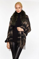 Augustina's Women's Fur Trim Plaid Wool/Cashmere Wrap, Olive