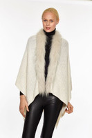 Augustina's Women's Genuine Fur Trim Drape Knit Shawl, Cream