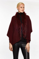 Augustina's Women's Genuine Fur Trim Drape Knit Shawl, Wine