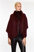 Augustina's Women's Genuine Fur Trim Drape Knit Shawl, Wine