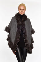 Augustina's Women's Fur Trim Rabbit & Fox Cashmere Shawl, Charcoal