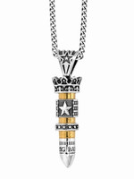 King Baby Studio Men's 38 Special Bullet with Silver Star Flag and Star Ring Pendant