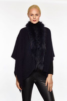 Augustina's Women's Genuine Fur Trim Drape Knit Shawl, Black