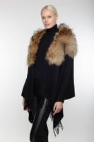 Augustina's Women's Wool/Cashmere Shawl w/ Fox Collar, Black/Gold
