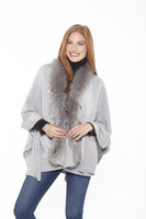 Augustina's Women's Ultra-Luxe Genuine Fur Trim Wool Shawl, Dove
