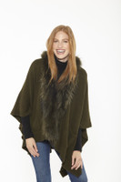 Augustina's Women's Ultra-Luxe Genuine Fur Trim Wool Shawl, Olive