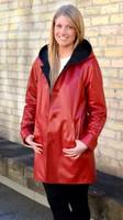 Lyn Leather Women's Reversible Cherry Leather/Black Jacket