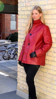 Lyn Leather Women's Cherry Red Leather Swing Coat
