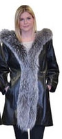 Lyn Leather Women's Black Leather & Fox Trim Long Jacket