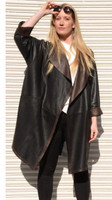 Lyn Leather Women's Black/Chocolate Leather Long Reversible Trench
