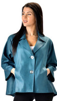 Lyn Leather Women's Short Swing Teal Leather High-Low Jacket