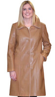 Lyn Leather Women's Ginger Leather Long Coat w/ Beige Trim