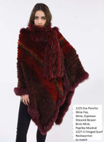 Paula Lishman Hand Knit Wine Sheared Beaver Fox Trim Eva Poncho
