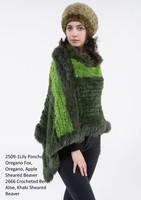 Paula Lishman Hand Knit Oregano Sheared Beaver Fox Trim Lily Poncho