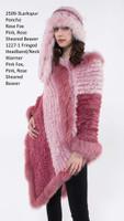 Paula Lishman Hand Knit Pink Sheared Beaver Larkspur Poncho