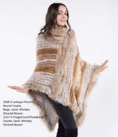 Paula Lishman Hand Knit Coyote Sheared Beaver Larkspur Poncho