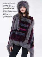 Paula Lishman Hand Knit Anthracite Berry Sheared Beaver Larkspur Poncho