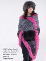 Paula Lishman Hand Knit Grey/Pink  Sheared Beaver Larkspur Poncho