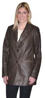 Lyn Leather Women's Brown Leather Long Blazer with  Beige Trim