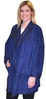 Lyn Leather Women's Electric Blue Danubia Suede Long Jacket