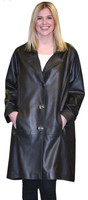 Lyn Leather Women's Black Crystal Long Leather Oversized Jacket