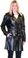 Lyn Leather Women's Black Leather Oversized Belted Trench Coat