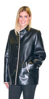 Lyn Leather Women's Inky Black Leather Jacket with Frost Trim