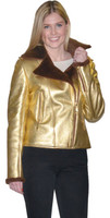 Lyn Leather Women's Gold Leather Short Jacket w/ Brown Shearling Collar